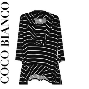 Coco Bianco Cowel Neck Striped Blouse Size Large